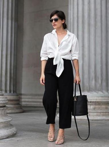 白色上衣搭配黑色裤子好看吗,白色配什么颜色好