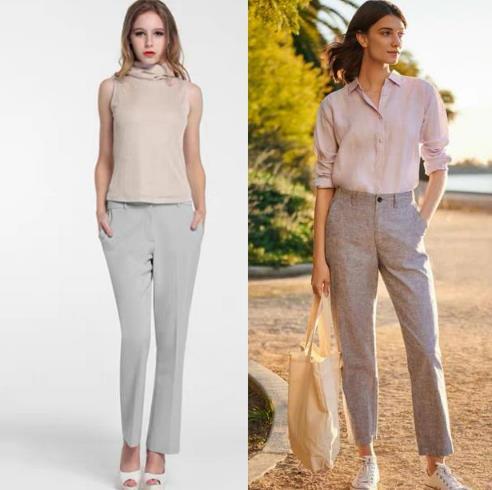 灰色裤子搭配什么颜色上衣,灰色裤子搭配图片