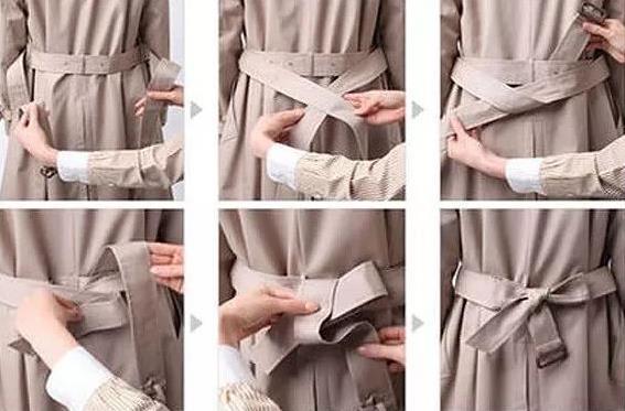 风衣后面腰带怎么系,风衣蝴蝶结系法图解