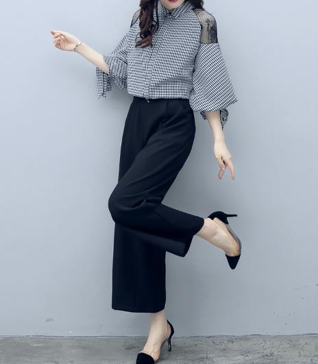 三十岁女人套装甜美可爱穿搭:格纹上衣配黑色阔腿裤