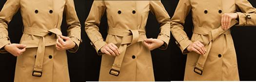 风衣腰带系法:风衣腰带系法图解,好看的蝴蝶结风衣腰带
