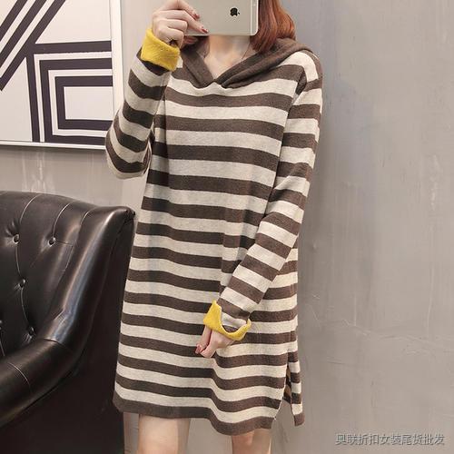 中长款条纹针织衫 (7)