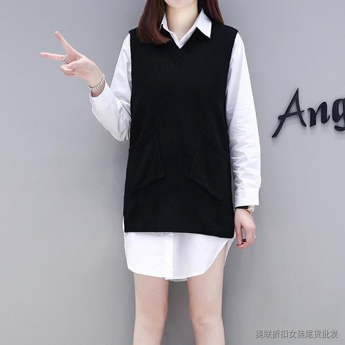 白衬衫外面加一件黑色针织马甲 (12)