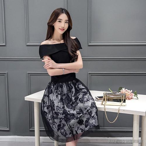 印花时尚一字领连衣裙 (6)
