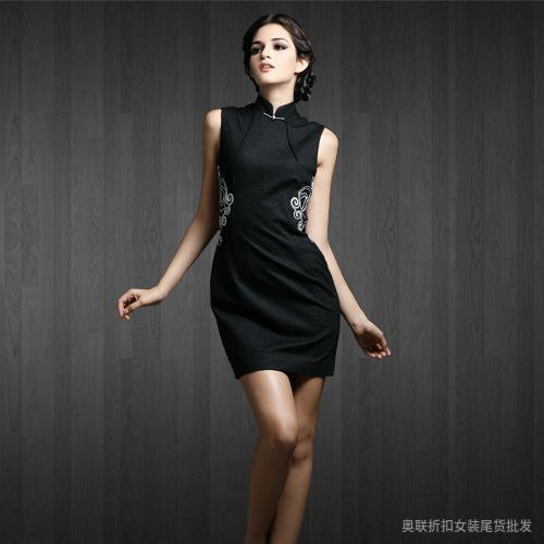 旗袍高腰套头单件短袖舒适修身纯色都市