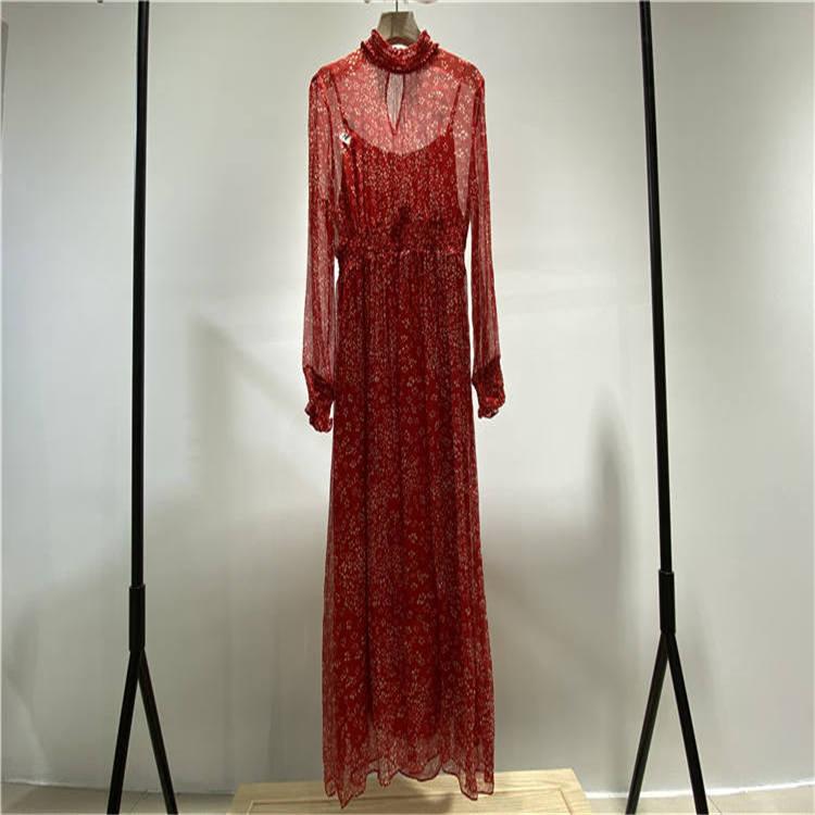 网店货源一件代发 遇见天品牌红色小碎花连衣裙