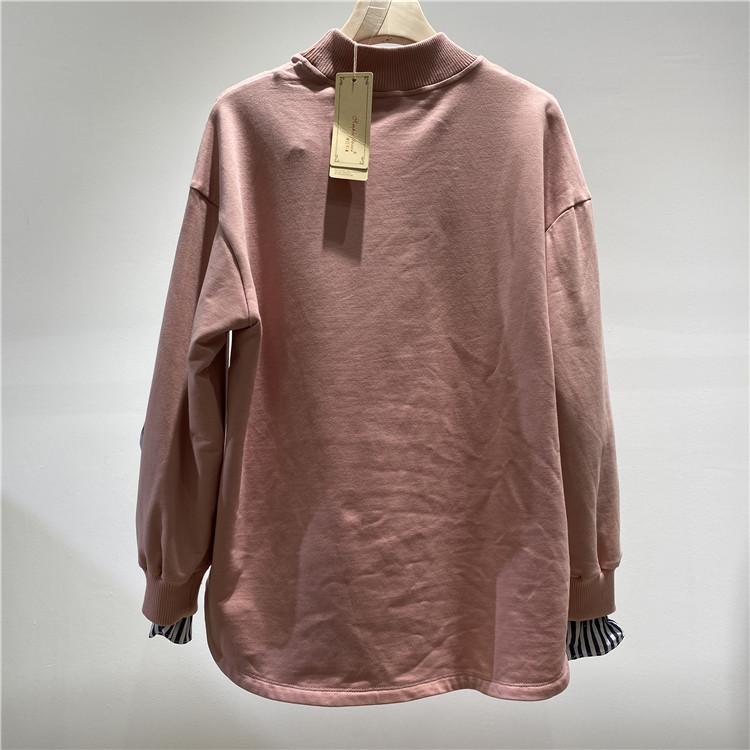 尾货批发市场 奥联优选女装品牌简约风情粉红卫衣