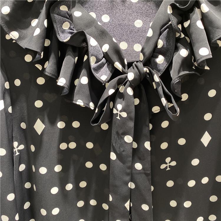 职业套装女装时尚 奥联优选品牌简约风情黑白波点雪纺衬衫